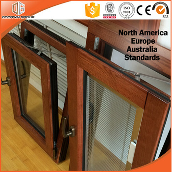 China high quality door integral shutter Tilt & Turn Casement Window Wood Window With Aluminum Cladding From Outside