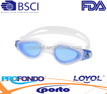One-piece TPE Injection Swim Goggles with Curved Lens and LIQUID Silicone Strap
