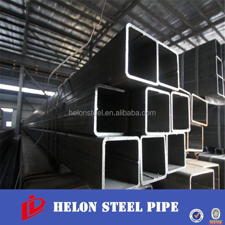 Low carbon erw welded iron rectangular tube/black iron 100mmx100mm steel tube/black square tube