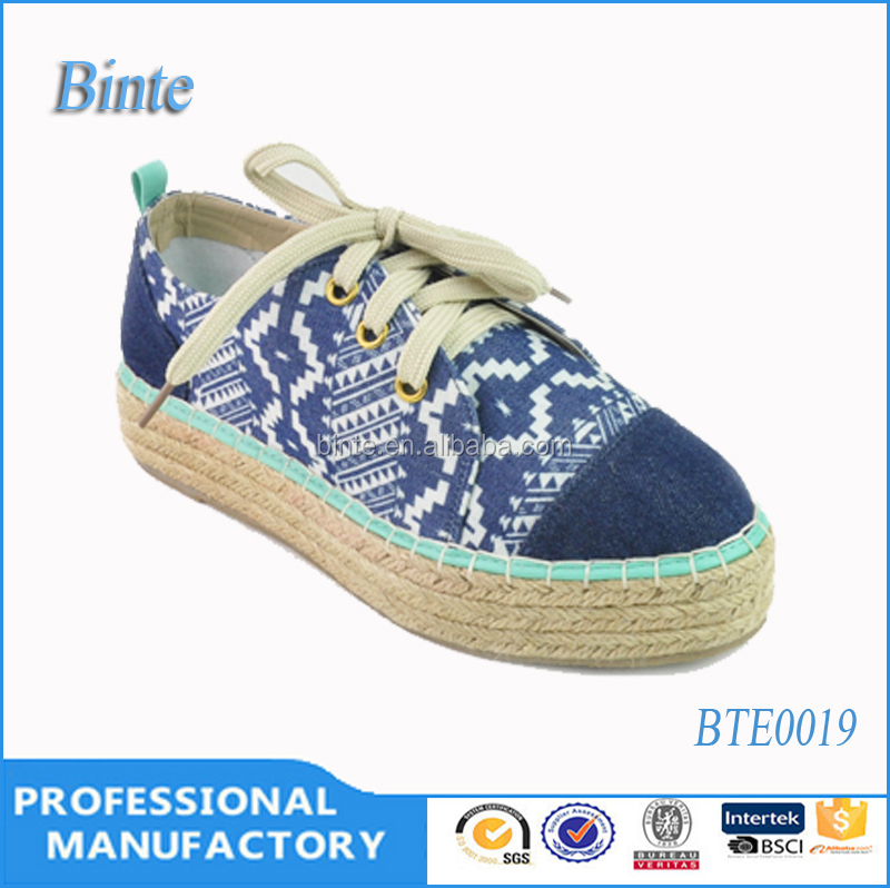 lace flat heel jeans&canvas upper and straw&tpr outsole beautiful good products cheap wholesale espadrille