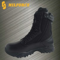 All leather well protection men black motorcycle police tactical boots