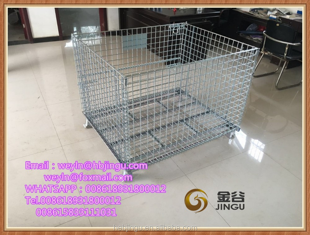 Heavy Duty Metal Stacking Wire Mesh Boxes Gitterboxes Folding Steel Storage Cages Container for Warehouse