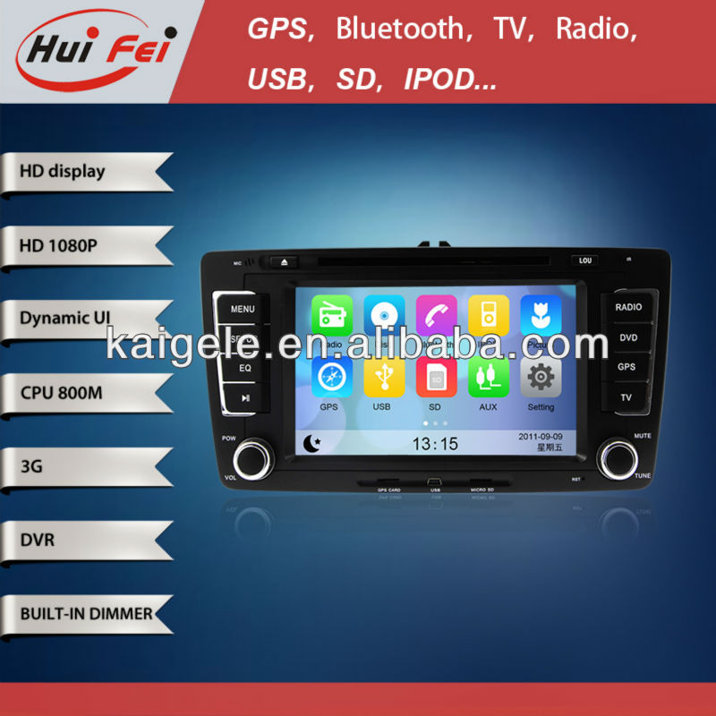 HuiFei HD 1080P for Skoda Octavia 2013 Car Radio Navigation support 3G WiFi iPod iPhone New Interface