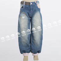 Top design young girls lantern leg rib cuffed pants woolen cloth decoration women slim legging hem jeans