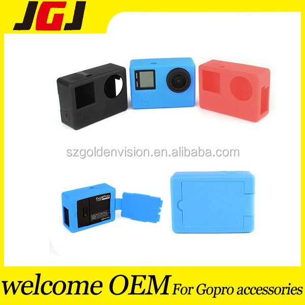 Colorful Sport Camera Case For GoPro Hero 4 / 3+, Silicone Cover Soft Case Rubber Protective Case Cover Protector Skin