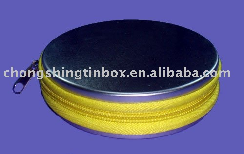 Round metal CD/DVD packaging box with zipper