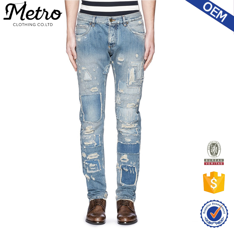 New style hip hop denim fabric man damaged jeans