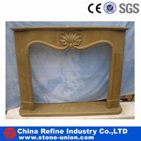 Freestanding modern decorative yellow flowers handcarved stone fireplace