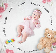 Baby Boy Monthly Milestone Blanket Newborn Photo Props Backdrop, Infant Baby Swaddling Blanket for Photography