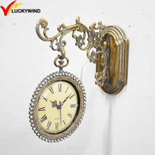 metal iron antique gold battery wall garden clocks