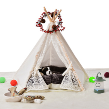 5 poles pure color lace pet teepee dog cat wooden kennels
