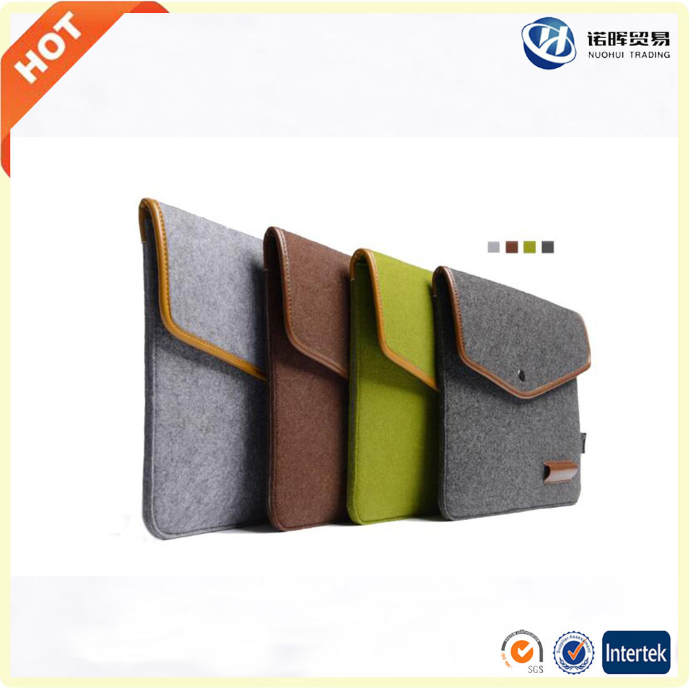 Factory price customize all size wool felt leather laptop sleeve in china