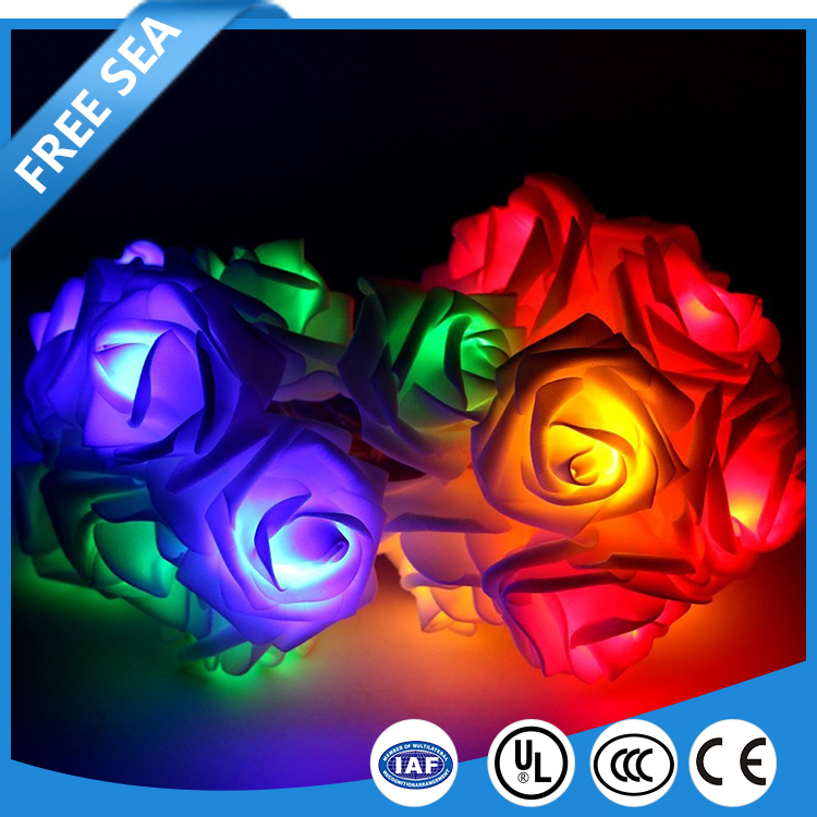 Outdoor String 4.8M 20 LED Rose Flower Fairy Lights for Wedding Holiday Party