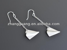 fashion paper airplane silver plated earrings