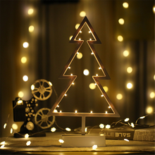 Battery Operated 3D Wooden Christmas Tree Decorative Table Night Lamp