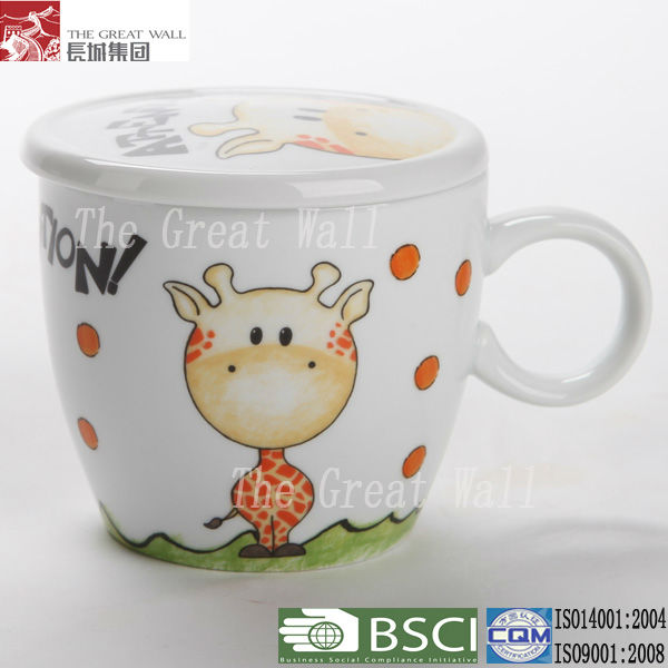 4 inch ceramic coffee mug with cover