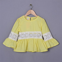 Wholesale 2015 Yellow Girl T shirt Pierced Children Lace Cotton Costume Child Blouse Infant Party Wear Korea Style GT50328-6