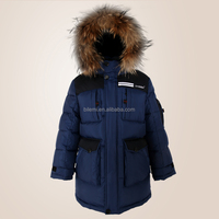 outdoor cotton wadded jacket with raccoon's fur trimmed hood