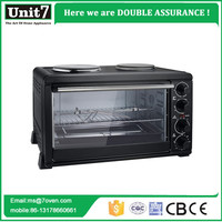 Good quality toaster oven liters bread baking oven with two hot plates stainless steel oven fans