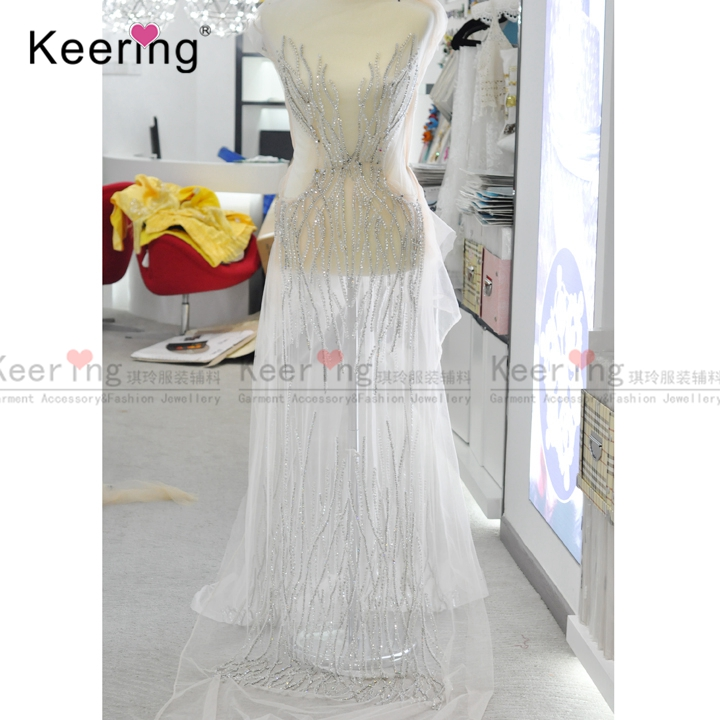 Beaded Applique Handmade dress crystal stones for dress