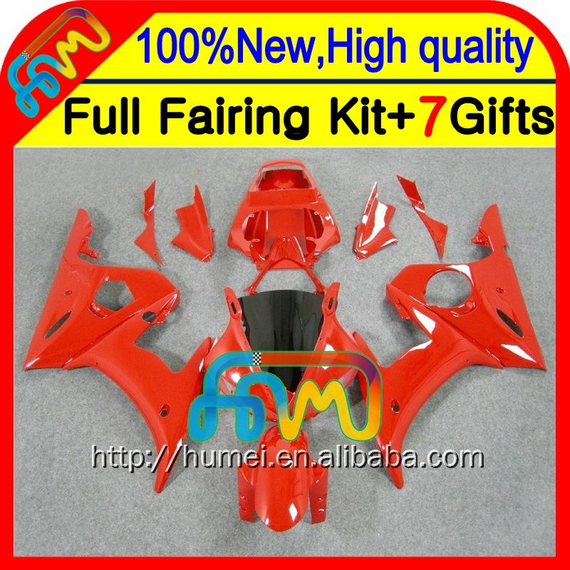 BodyBody For YAMAHA ALL Red YZFR6 03 04 05 R6 YZF-R6 03-05 CL9345 YZF600 YZF R6 2003 2004 2005 ALL Glossy red Fairing Kit