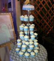 Crystal 6 tier polished round plexiglass wedding cupcake stand