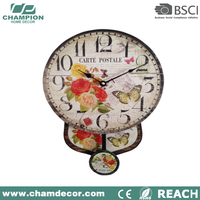 butterfly wooden wall pendulum antique swing clock