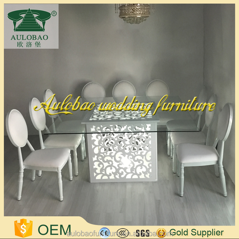 Wholesale discount glass top led light wood table furniture