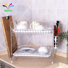 2 Tier Stainless Steel Desktop Counter Folding Kitchen Dish Drying Rack