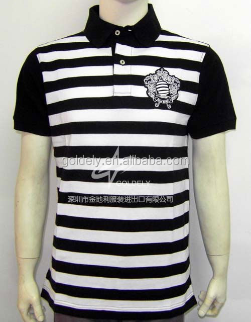 replica clothing,promotion striped polo shirt ,2014 high quality Men's T shirt