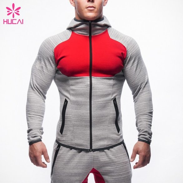 Custom Cotton Polyester Mens Sportswear Slim Fit Plain Training Tracksuit