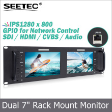 "Dual 7"" 3RU IPS 1280x800 Broadcast lcd monitor for Software control via Ethernet connection"
