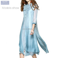 Chinese style improved cheongsam silk cotton chiffon fake two dresses women blue muslim dress
