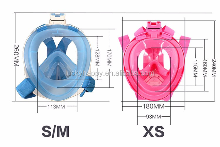 2017 new product silicone diving mask, full face snorkel mask and snorkel set