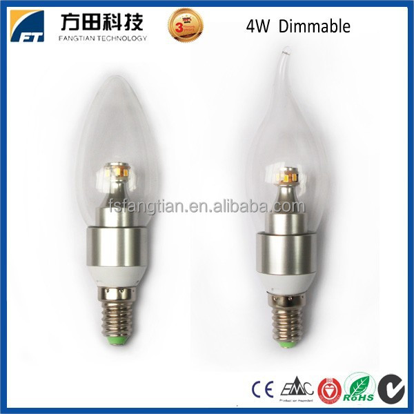 Indoor lighting 300lm 4 watt e14 360 degree dimmable led candle lamp