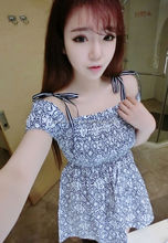 monroo 2014 Explosion models korean summer new fashion gallus printed women's dress