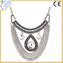 Long Sweater Chain Necklace With Crystal Teardrop From Yiwu Provider