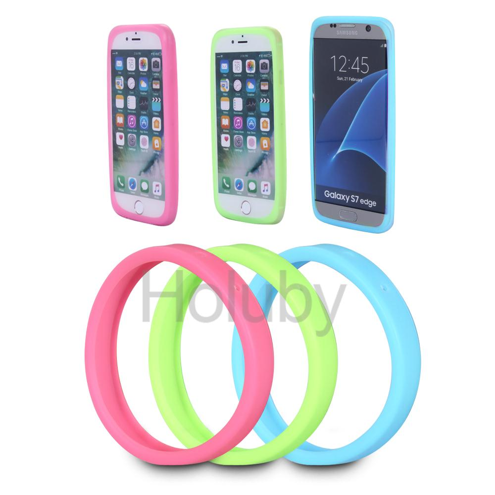 multi-used 3 Pieces Anti-Knock Luminous silicone bracelet Hand Ring Bumper Cover for iPhone 6 6S iPhone 7
