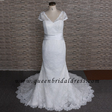 Fashion Short Sleeves France Lace Trumpet Ivory Wedding Dresses