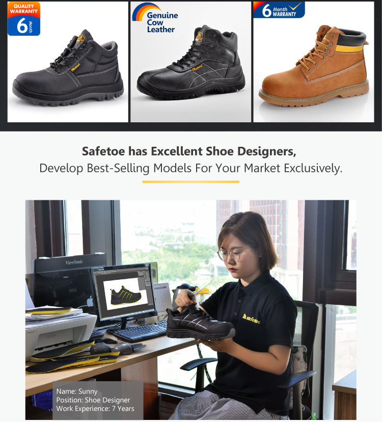 Breathable and lightweight Goodyear welted safety shoes