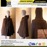 OM3759 3G_6GCH01 Custom Alpaca Cross Cable Knit Cape Poncho Sweater