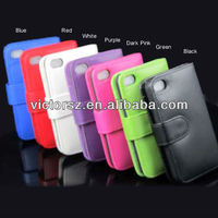 Wallet leather case for Iphone 5 --- 7 colors