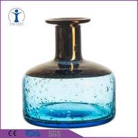 China Wholesale Coloured Modern Design Art Wedding Clear Orange Silver Blue Bubble Glass Vase