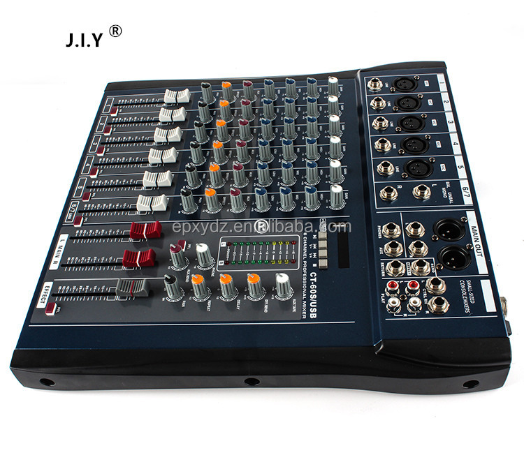 J.I.Y60 professional audio mixers console with USB MP3 6/8/12/16 channel power amplifier