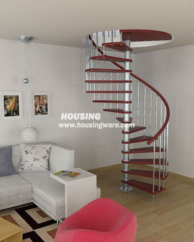 Modern house stairs inside ,red spiral staricase
