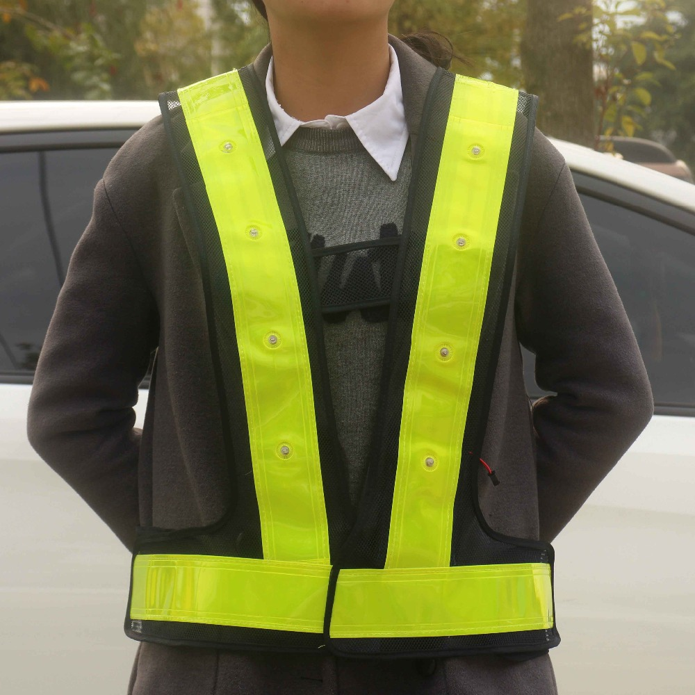 Export Qualified Sanitation Work Safety Reflective Vest With Led