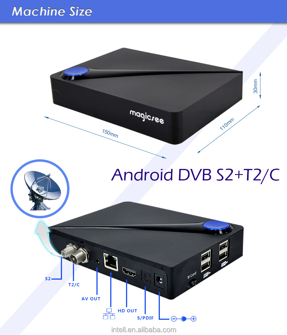Factory wholesale 2GB 16GB android set top box Magicsee C300 dvb s2 satellite receiver+ t2/C combo tv box with triple tuner