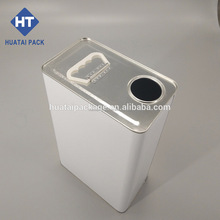 5 L metal tin can with plastic handle, square steel tin box used for packing engine oil,paint and thinner