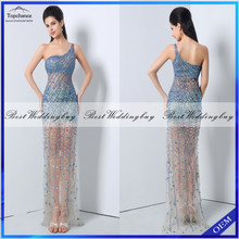 Gorgeous Heavy Beaded Illusion Tulle One-Shoulder Blue Red Sheath Evening Dress 2016