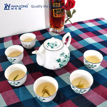pretty lotus flower printed cheap tea set 7pcs / ceramic modern cute 800ml teapot and teacup